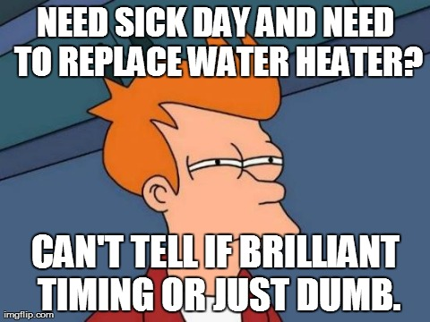 NEED SICK DAY AND NEED TO REPLACE WATER HEATER? CAN'T TELL IF BRILLIANT TIMING OR JUST DUMB. | Generated image from memes,futurama fry generated with the Imgflip Meme Generator