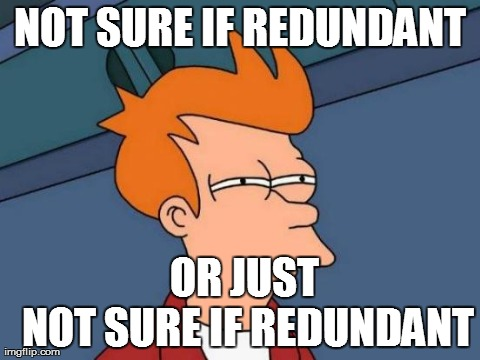 NOT SURE IF REDUNDANT      OR JUST      NOT SURE IF REDUNDANT | Generated image from memes,futurama fry generated with the Imgflip Meme Generator