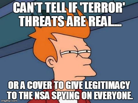 CAN'T TELL IF 'TERROR' THREATS ARE REAL.... OR A COVER TO GIVE LEGITIMACY TO THE NSA SPYING ON EVERYONE. | Generated image from memes,futurama fry generated with the Imgflip Meme Generator