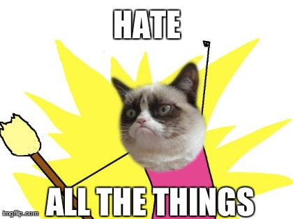 HATE ALL THE THINGS | Generated image from memes,x all the y,grumpy cat generated with the Imgflip Meme Generator