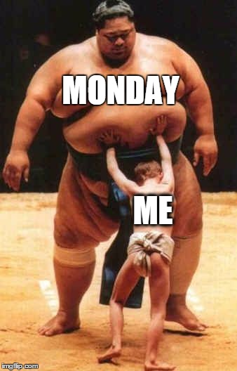 How I feel at the beginning of my work week... | MONDAY ME | image tagged in sumo,mondays,me,work | made w/ Imgflip meme maker