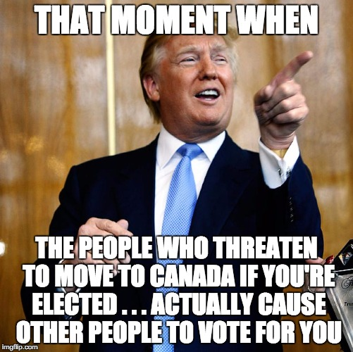 Donald Trump | THAT MOMENT WHEN THE PEOPLE WHO THREATEN TO MOVE TO CANADA IF YOU'RE ELECTED . . . ACTUALLY CAUSE OTHER PEOPLE TO VOTE FOR YOU | image tagged in donald trump | made w/ Imgflip meme maker