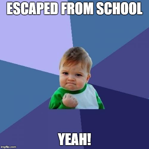 Success Kid Meme |  ESCAPED FROM SCHOOL; YEAH! | image tagged in memes,success kid | made w/ Imgflip meme maker