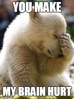Facepalm Bear |  YOU MAKE; MY BRAIN HURT | image tagged in memes,facepalm bear | made w/ Imgflip meme maker