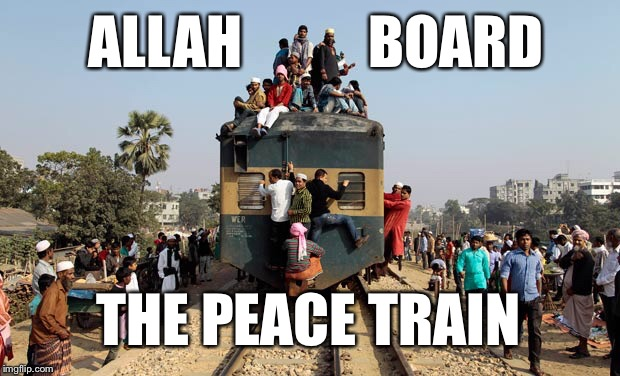 Is this what CAT STEVENS was talking about? | ALLAH           BOARD THE PEACE TRAIN | image tagged in peace train,cat stevens,memes,allah | made w/ Imgflip meme maker