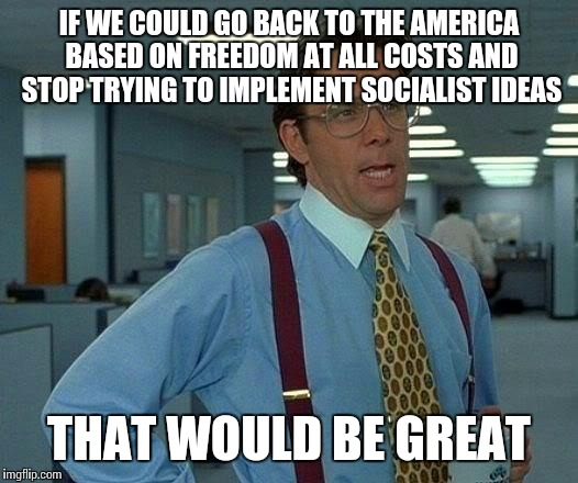 That Would Be Great Meme | IF WE COULD GO BACK TO THE AMERICA BASED ON FREEDOM AT ALL COSTS AND STOP TRYING TO IMPLEMENT SOCIALIST IDEAS THAT WOULD BE GREAT | image tagged in memes,that would be great | made w/ Imgflip meme maker