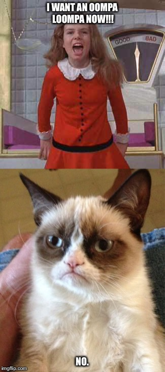 Gimme !! | I WANT AN OOMPA LOOMPA NOW!!! NO. | image tagged in veruca salt,funny memes,grumpy cat,funny | made w/ Imgflip meme maker