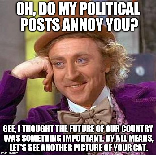 Creepy Condescending Wonka Meme | OH, DO MY POLITICAL POSTS ANNOY YOU? GEE, I THOUGHT THE FUTURE OF OUR COUNTRY WAS SOMETHING IMPORTANT. BY ALL MEANS, LET'S SEE ANOTHER PICTU | image tagged in memes,creepy condescending wonka | made w/ Imgflip meme maker