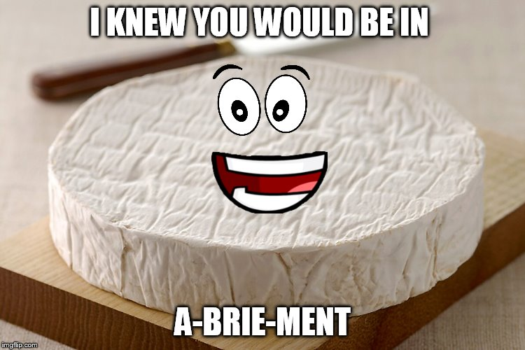 I KNEW YOU WOULD BE IN A-BRIE-MENT | made w/ Imgflip meme maker