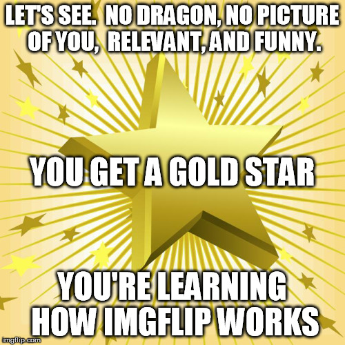 LET'S SEE.  NO DRAGON, NO PICTURE OF YOU,  RELEVANT, AND FUNNY. YOU'RE LEARNING HOW IMGFLIP WORKS YOU GET A GOLD STAR | made w/ Imgflip meme maker