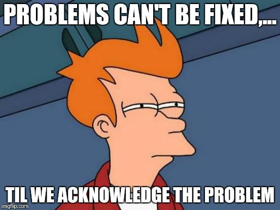 Futurama Fry Meme | PROBLEMS CAN'T BE FIXED,... TIL WE ACKNOWLEDGE THE PROBLEM | image tagged in memes,futurama fry | made w/ Imgflip meme maker