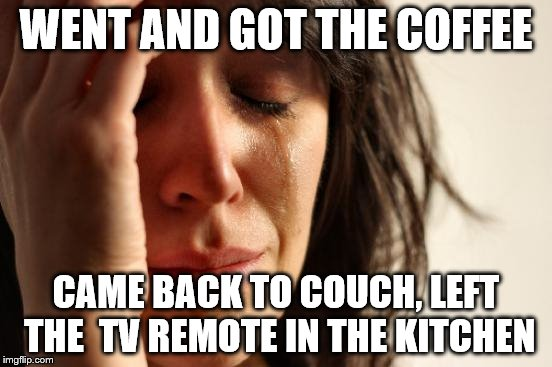 First World Problems Meme | WENT AND GOT THE COFFEE CAME BACK TO COUCH, LEFT THE  TV REMOTE IN THE KITCHEN | image tagged in memes,first world problems | made w/ Imgflip meme maker
