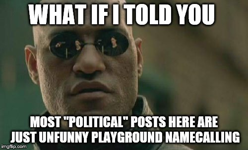 "Matrix Morpheus Meme | WHAT IF I TOLD YOU MOST ""POLITICAL"" POSTS HERE ARE JUST UNFUNNY PLAYGROUND NAMECALLING 