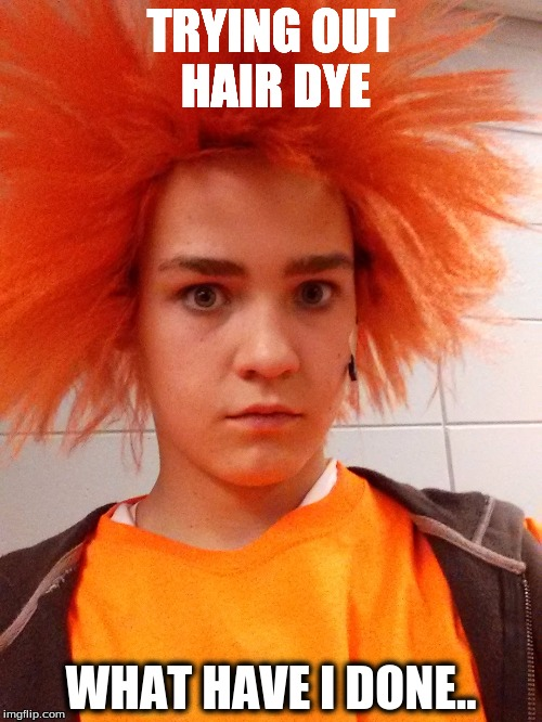 Hair dye is not for everyone... | TRYING OUT HAIR DYE WHAT HAVE I DONE.. | image tagged in funny memes | made w/ Imgflip meme maker
