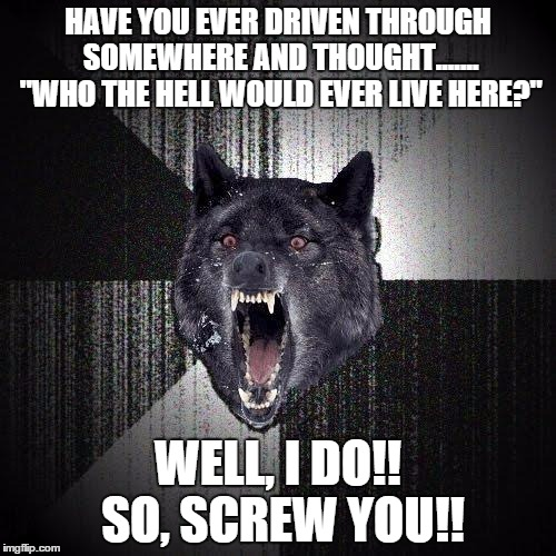 "Insanity Wolf Meme | HAVE YOU EVER DRIVEN THROUGH SOMEWHERE AND THOUGHT....... ""WHO THE HELL WOULD EVER LIVE HERE?"" WELL, I DO!! SO, SCREW YOU!! 