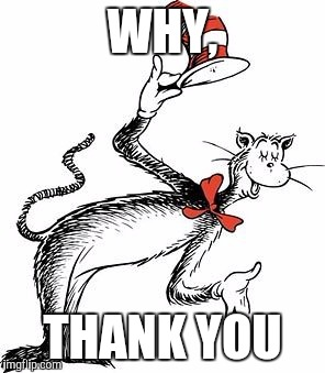 Cat In the Hat | WHY, THANK YOU | image tagged in cat in the hat | made w/ Imgflip meme maker