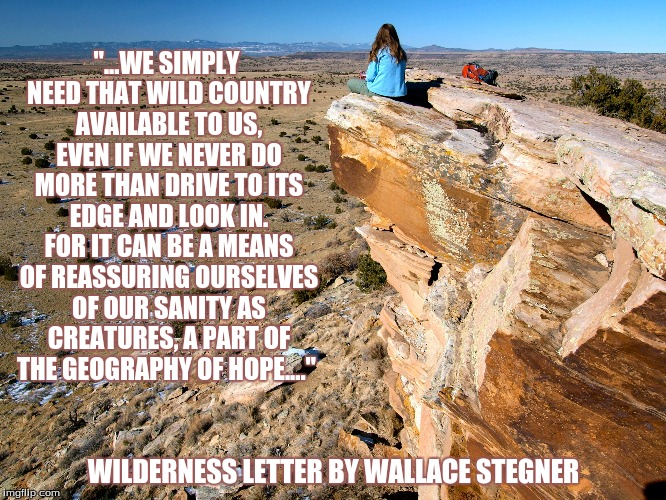 "Wilderness Coda | ""...WE SIMPLY NEED THAT WILD COUNTRY AVAILABLE TO US, EVEN IF WE NEVER DO MORE THAN DRIVE TO ITS EDGE AND LOOK IN. FOR IT CAN BE A MEANS OF  