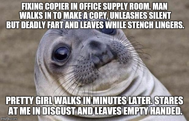 Awkward Moment Sealion Meme | FIXING COPIER IN OFFICE SUPPLY ROOM. MAN WALKS IN TO MAKE A COPY, UNLEASHES SILENT BUT DEADLY FART AND LEAVES WHILE STENCH LINGERS. PRETTY G | image tagged in memes,awkward moment sealion,AdviceAnimals | made w/ Imgflip meme maker
