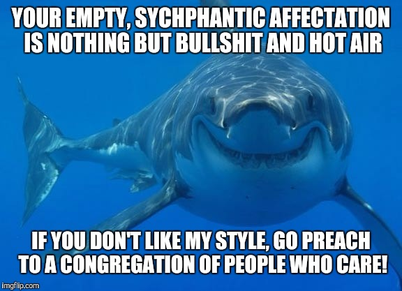 Smiling Shark | YOUR EMPTY, SYCHPHANTIC AFFECTATION IS NOTHING BUT BULLSHIT AND HOT AIR IF YOU DON'T LIKE MY STYLE, GO PREACH TO A CONGREGATION OF PEOPLE WH | image tagged in smiling shark | made w/ Imgflip meme maker