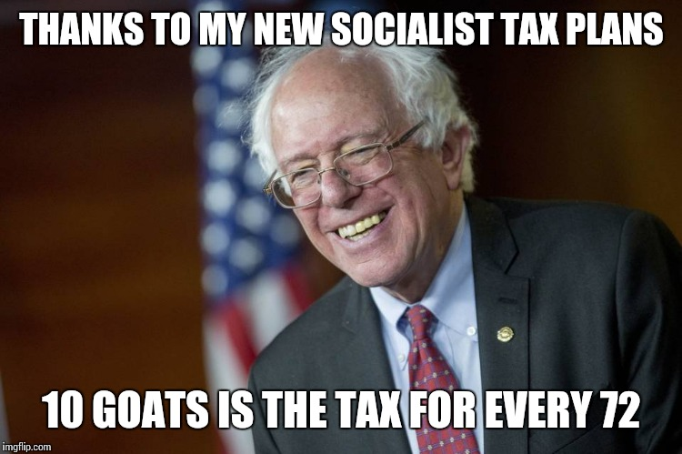 THANKS TO MY NEW SOCIALIST TAX PLANS 10 GOATS IS THE TAX FOR EVERY 72 | made w/ Imgflip meme maker
