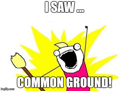 X All The Y Meme | I SAW ... COMMON GROUND! | image tagged in memes,x all the y | made w/ Imgflip meme maker