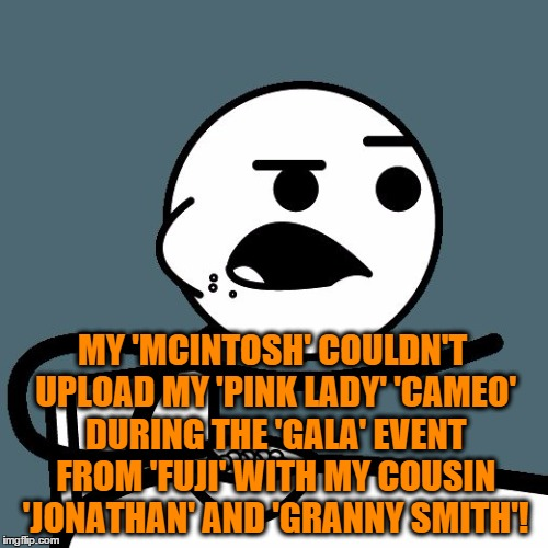 cereal guy | MY 'MCINTOSH' COULDN'T UPLOAD MY 'PINK LADY' 'CAMEO' DURING THE 'GALA' EVENT FROM 'FUJI' WITH MY COUSIN 'JONATHAN' AND 'GRANNY SMITH'! | image tagged in cereal guy | made w/ Imgflip meme maker