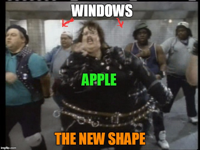 weird al | APPLE THE NEW SHAPE WINDOWS | image tagged in weird al | made w/ Imgflip meme maker