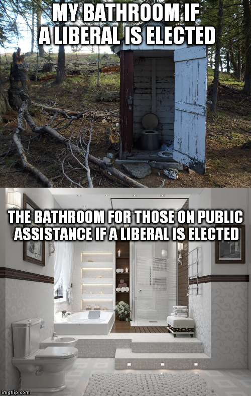 taxpayer benefits explained | MY BATHROOM IF A LIBERAL IS ELECTED THE BATHROOM FOR THOSE ON PUBLIC ASSISTANCE IF A LIBERAL IS ELECTED | image tagged in outhouse | made w/ Imgflip meme maker