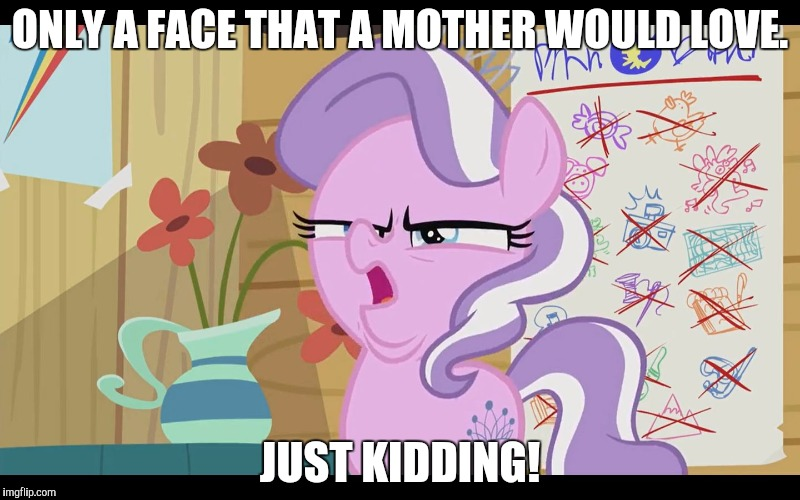 MLP WTF |  ONLY A FACE THAT A MOTHER WOULD LOVE. JUST KIDDING! | image tagged in mlp wtf | made w/ Imgflip meme maker