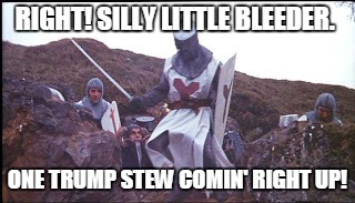 Challenge Accepted | RIGHT! SILLY LITTLE BLEEDER. ONE TRUMP STEW COMIN' RIGHT UP! | image tagged in challenge accepted | made w/ Imgflip meme maker