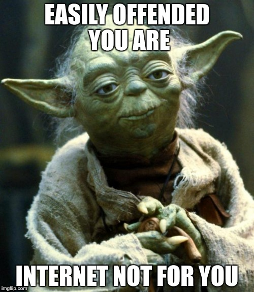 For those who take offense at everything | EASILY OFFENDED YOU ARE INTERNET NOT FOR YOU | image tagged in memes,star wars yoda,offended | made w/ Imgflip meme maker