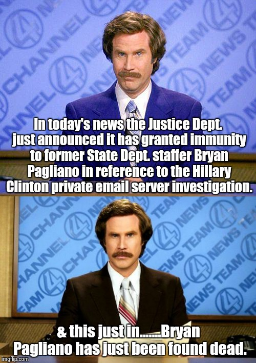 That Clinton curse | In today's news the Justice Dept. just announced it has granted immunity to former State Dept. staffer Bryan Pagliano in reference to the Hi | image tagged in breaking news | made w/ Imgflip meme maker