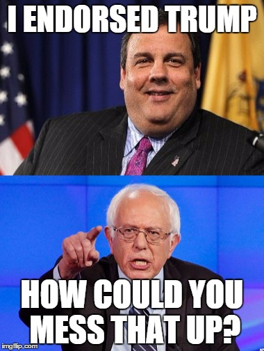 Christie Messed Up |  I ENDORSED TRUMP; HOW COULD YOU MESS THAT UP? | image tagged in chris christie,bernie sanders,bernie,vote bernie sanders,trump,donald drumpf | made w/ Imgflip meme maker