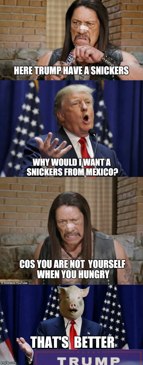 Trejo, Trump & Snickers | HERE TRUMP HAVE A SNICKERS WHY WOULD I WANT A SNICKERS FROM MEXICO? COS YOU ARE NOT  YOURSELF WHEN YOU HUNGRY THAT'S  BETTER | image tagged in donald trump,danny trejo,snickers,piggate,funny,memes | made w/ Imgflip meme maker