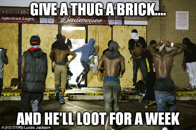 GIVE A THUG A BRICK.... AND HE'LL LOOT FOR A WEEK | made w/ Imgflip meme maker