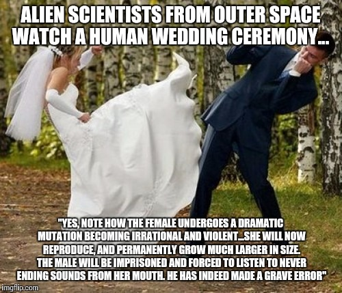 "Angry Bride | ALIEN SCIENTISTS FROM OUTER SPACE WATCH A HUMAN WEDDING CEREMONY... ""YES, NOTE HOW THE FEMALE UNDERGOES A DRAMATIC MUTATION BECOMING IRRATIO 