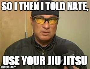 Steven Seagal MMA | SO I THEN I TOLD NATE, USE YOUR JIU JITSU | image tagged in steven seagal mma,MMA | made w/ Imgflip meme maker