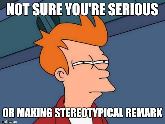 Futurama Fry Meme | NOT SURE YOU'RE SERIOUS OR MAKING STEREOTYPICAL REMARK | image tagged in memes,futurama fry | made w/ Imgflip meme maker