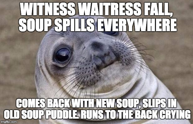 Awkward Moment Sealion Meme | WITNESS WAITRESS FALL, SOUP SPILLS EVERYWHERE COMES BACK WITH NEW SOUP, SLIPS IN OLD SOUP PUDDLE. RUNS TO THE BACK CRYING | image tagged in memes,awkward moment sealion,AdviceAnimals | made w/ Imgflip meme maker