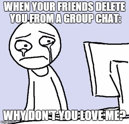 crying computer reaction | WHEN YOUR FRIENDS DELETE YOU FROM A GROUP CHAT: WHY DON'T YOU LOVE ME? | image tagged in crying computer reaction | made w/ Imgflip meme maker