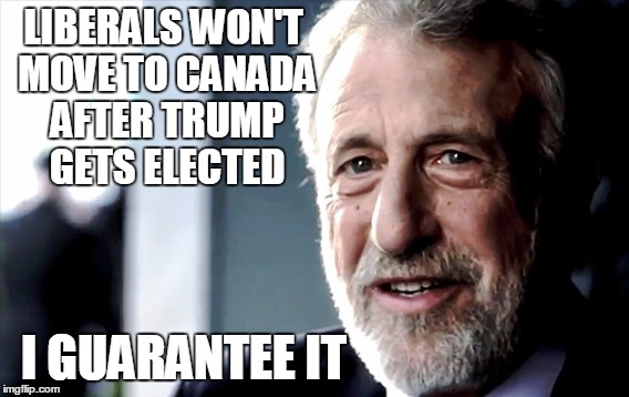 Because they don't mean it. |  LIBERALS WON'T MOVE TO CANADA AFTER TRUMP GETS ELECTED; I GUARANTEE IT | image tagged in men's warehouse guy,memes,trump | made w/ Imgflip meme maker