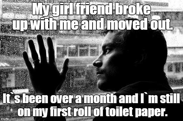 Over Educated Problems | My girl friend broke up with me and moved out. It`s been over a month and I`m still on my first roll of toilet paper. | image tagged in memes,over educated problems | made w/ Imgflip meme maker