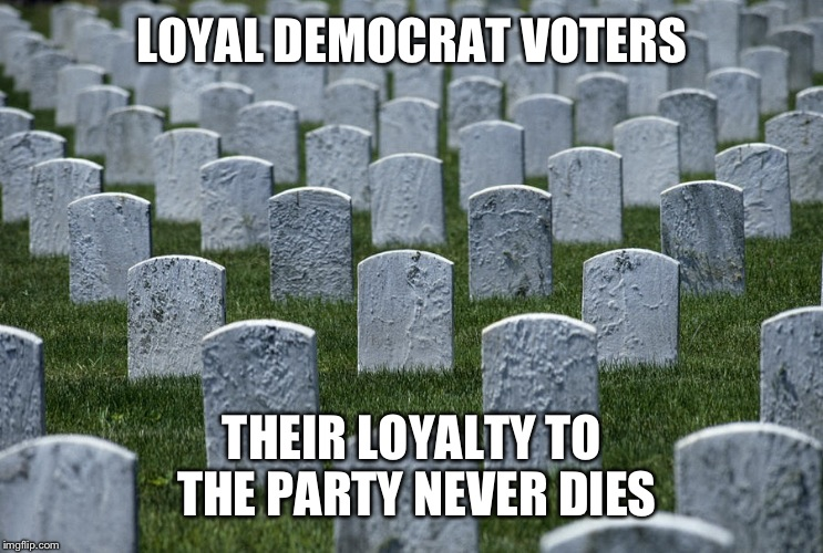 LOYAL DEMOCRAT VOTERS THEIR LOYALTY TO THE PARTY NEVER DIES | made w/ Imgflip meme maker