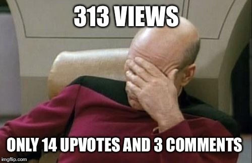 Captain Picard Facepalm Meme | 313 VIEWS ONLY 14 UPVOTES AND 3 COMMENTS | image tagged in memes,captain picard facepalm | made w/ Imgflip meme maker