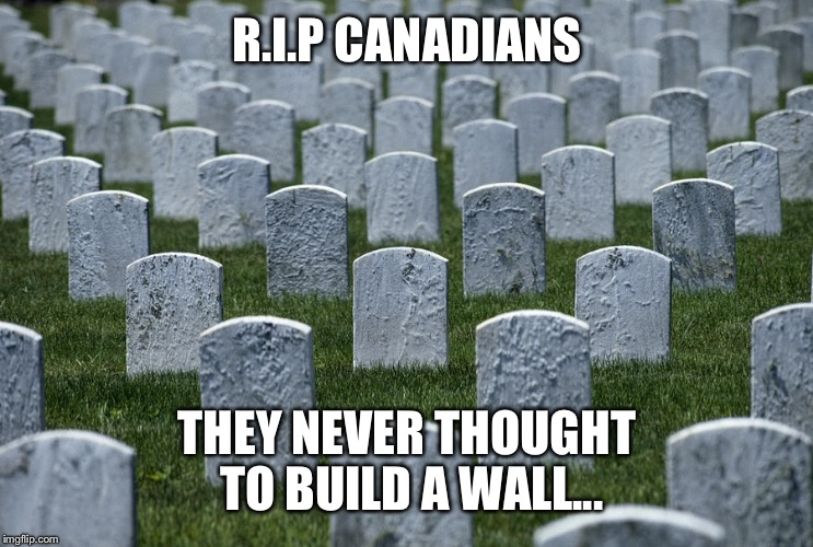 R.I.P CANADIANS THEY NEVER THOUGHT TO BUILD A WALL... | made w/ Imgflip meme maker