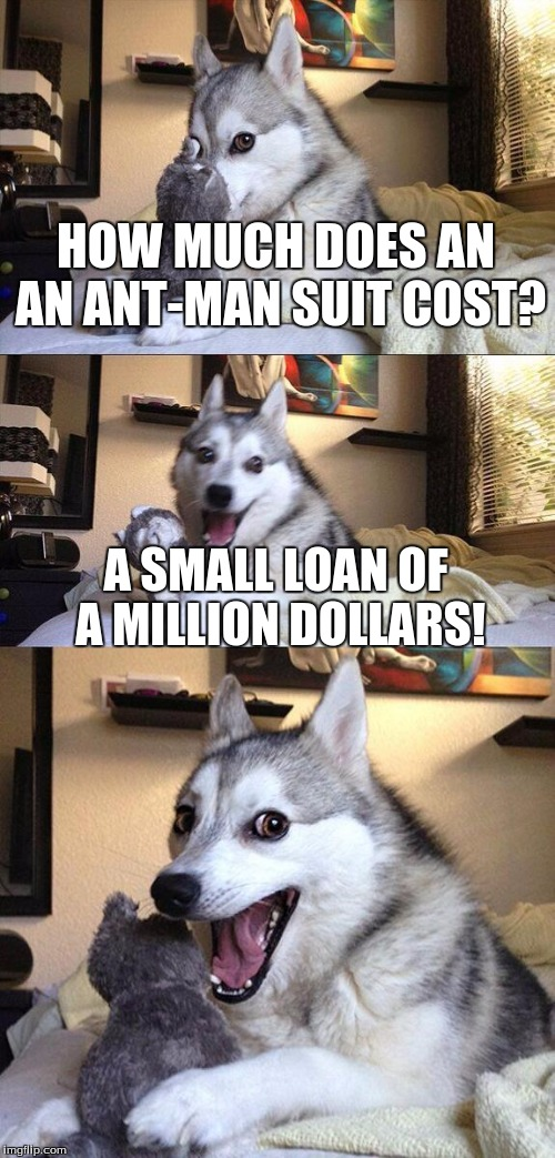 Watched the movie yesterday...  |  HOW MUCH DOES AN AN ANT-MAN SUIT COST? A SMALL LOAN OF A MILLION DOLLARS! | image tagged in memes,bad pun dog,ant man | made w/ Imgflip meme maker