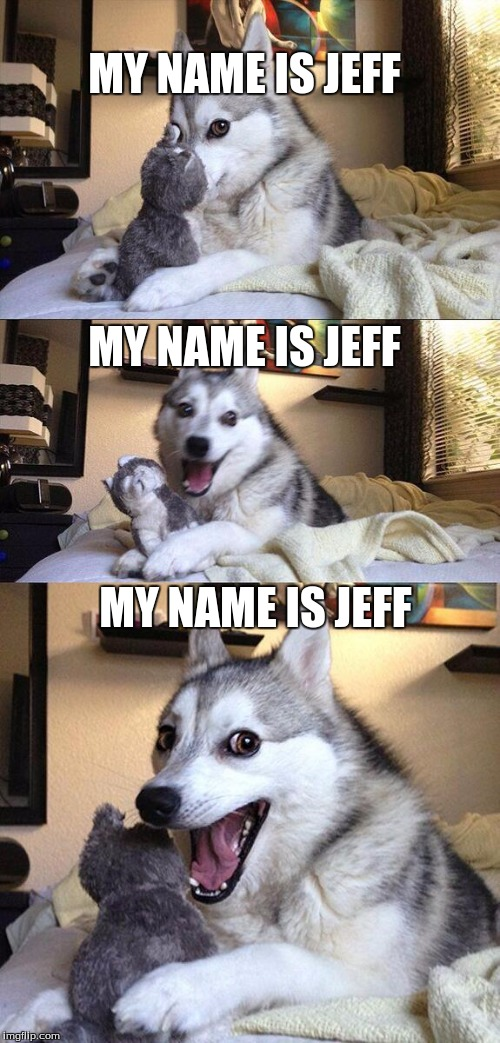 Bad Pun Dog Meme | MY NAME IS JEFF MY NAME IS JEFF MY NAME IS JEFF | image tagged in memes,bad pun dog | made w/ Imgflip meme maker