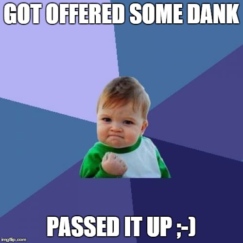 Success Kid Meme | GOT OFFERED SOME DANK PASSED IT UP ;-) | image tagged in memes,success kid | made w/ Imgflip meme maker