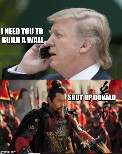 I NEED YOU TO BUILD A WALL; SHUT UP DONALD | image tagged in donald trump,chinese army | made w/ Imgflip meme maker
