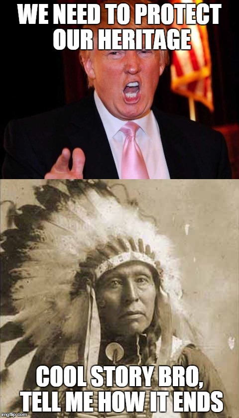 Donald Trump and Native American |  WE NEED TO PROTECT OUR HERITAGE; COOL STORY BRO, TELL ME HOW IT ENDS | image tagged in donald trump and native american | made w/ Imgflip meme maker